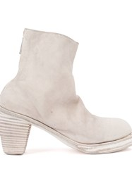 Guidi Back Zip Ankle Boots White
