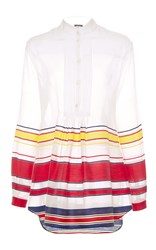Alexis Mabille Striped Long Sleeve Tunic White Red Yellow