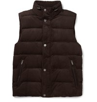 Michael Kors Kor Padded Uede Gilet Chocolate