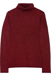 Alice Olivia Billi Metallic Stretch Knit Turtleneck Sweater Burgundy