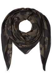 The Kooples Printed Scarf With Silk Green