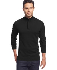 Alfani Red Big And Tall Solid Quarter Zip Sweater Deep Black