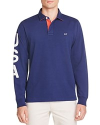 Vineyard Vines Usa Rugby Classic Fit Polo Shirt Deep Bay