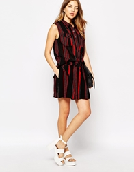Ganni Vertical Striped Mini Skirt Black