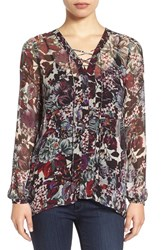 Lucky Brand Women's Sheer Floral Print Lace Up Peasant Blouse