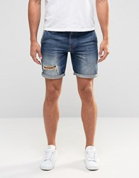 Asos Slim Denim Shorts With Rips In Blue Dark Blue