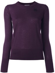 Rochas Logo Patch Jumper Pink And Purple