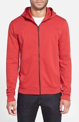Men's Hugo Cotton Jersey Full Zip Hoodie Red