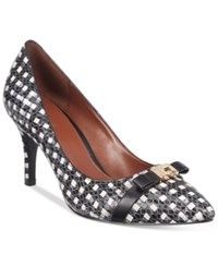 Cole Haan Juliana 75 Pointy Toe Detail Pumps Women's Shoes Black White