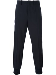 Neil Barrett Pinstripe Tapered Trousers Blue