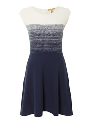Hugo Boss Inabelle Cap Sleeve Fitted Knitted Dress Navy