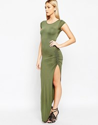 Club L Essentials Jersey Maxi Dress With Side Split And Ruching Detail Green