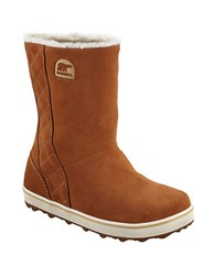 Sorel Glacy Suede Faux Fur Lined Ankle Boots Chestnut
