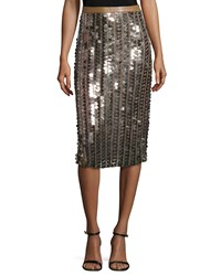 Tracy Reese Sequined Pencil Skirt Tarnished Gold