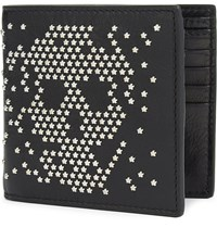 Alexander Mcqueen Star Studded Leather Billfold Wallet Black