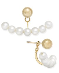 Macy's Cultured Freshwater Pearl 3Mm And Gold Ball Stud Earring Jackets In 14K Gold White