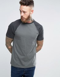 Asos Contrast Raglan T Shirt In Grey Stingray Atlantic