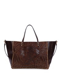 Large Primitive Animal Elephant Studded Tote Bag Cacao Valentino Brown