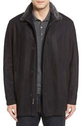 Remy Leather Men's Three Quarter Jacket With Removable Genuine Shearling Collar