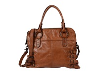 Frye Selena Belted Zip Satchel Whiskey Vintage Leather Satchel Handbags