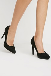 Forever 21 Pointed Faux Suede Pumps Black