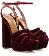 Aquazzura Mira Velvet Platform Sandals Red