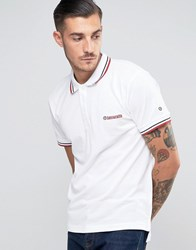 Lambretta Tipping Pique Polo With Target Logo White
