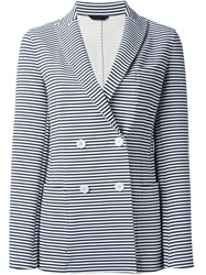 Fay Double Breasted Striped Jacket Blue
