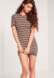 Missguided Stripe Short Sleeve Mini Dress Multi Multi