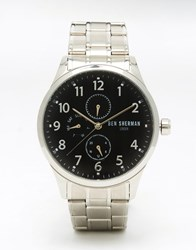 Ben Sherman Spitalfields Multi Function Silver Bracelet Watch With Black Dial Silver
