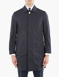 Thom Browne Navy Packable Waxed Cotton Mac