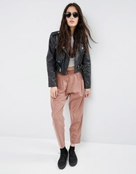Asos Washed Casual Tapered Peg Trousers Rust Orange