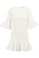 Ainea Ruffle Trimmed Broderie Anglaise Cotton Mini Dress Off White