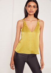 Missguided D Ring Detail Satin Cami Yellow Yellow