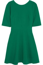 Dolce And Gabbana Stretch Wool Crepe Mini Dress Green