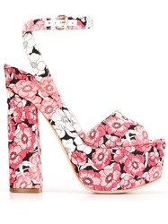 Giamba Floral Print Sandals Pink And Purple