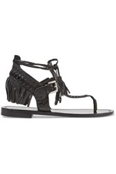 Sigerson Morrison Alysa Fringed Leather Sandals Black