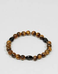 Simon Carter Tigers Eye Beaded Bracelet With Swarovski Crystal Exclusive To Asos Brown