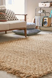 Urban Outfitters Natural Jute Woven Tassel Rug Neutral