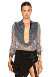 Anthony Vaccarello Decollete Long Sleeve Top In Black Stripes