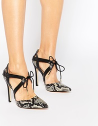 Truffle Collection Skye Tie Front Heeled Shoes Beigesnake