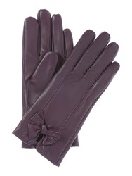 Isotoner Leather Glove With Bow Purple