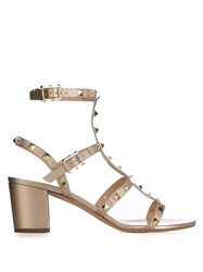 Valentino Rockstud Metallic Leather Sandals Gold
