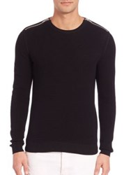 The Kooples Zip Cotton Pearl Stitch Sweater