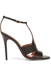 Halston Connie Woven Trimmed Leather Sandals Black