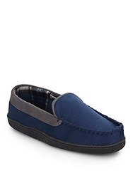 Saks Fifth Avenue Stitched Micro Suede Slippers Navy
