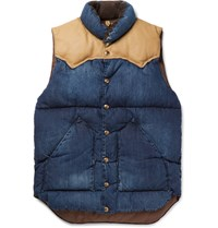 Rocky Mountain Featherbed Slim Fit Leather And Corduroy Trimmed Denim Down Gilet Indigo