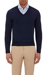 Barneys New York Men's V Neck Sweater Blue