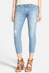 Big Star 'Alex' Embroidered Distressed Ankle Skinny Jeans Blue
