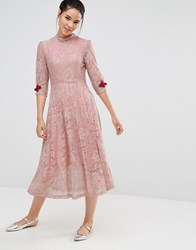 Sister Jane Lace Midi Dress With Crochet Fastenings Pink